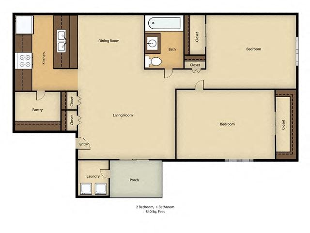 Crestwood Apartments Floor Plan in St. Cloud, FL