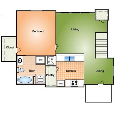1 bed 1 bath w/attached garage (price not included)
