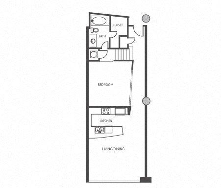 Floor Plan 416 at The Lofts at Mockingbird Station Apartments in Dallas
