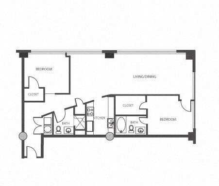 2 Bed 2 Bath at The Lofts at Mockingbird Station Apartments in Dallas