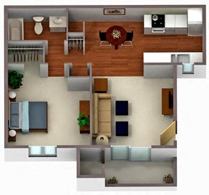 Palm Crest at Station 40_Phoenix AZ_Floor Plan_One Bedroom One Bathroom