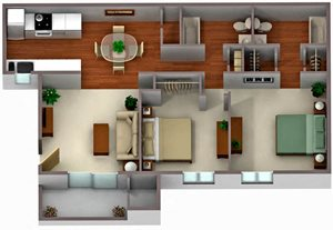 Palm Crest at Station 40_Phoenix AZ_Floor Plan_Two Bedroom Two Bathroom