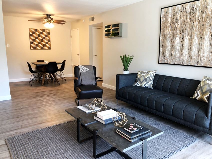 98Hundred Apartments Model Living Room and Dining Room