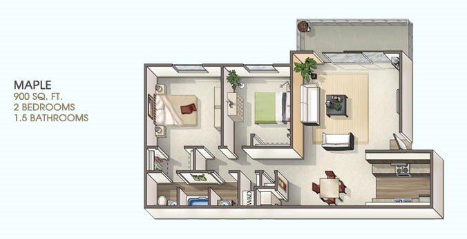 2 Bedroom 1.5 Floor Plan 3