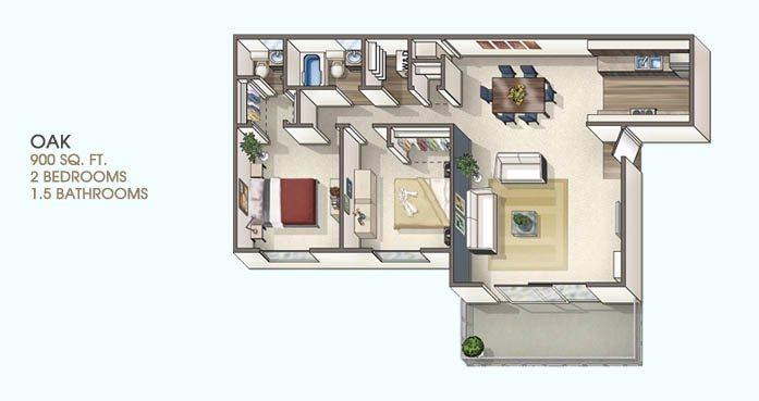 2 Bedroom 1.5 Bath Floor Plan 2