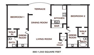 The Summit at Point Loma_San Diego_CA_Floor Plan_Two Bedroom Two Bathroom