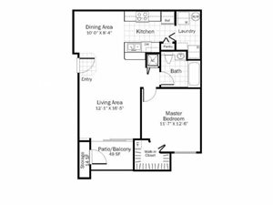 A1 - 1 Bed 1 Bath Floor Plan