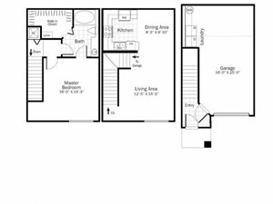 A2 - 1 Bed 1 Bath Floor Plan