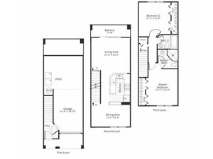 B3 - 2 Bed 2 Bath Townhouse Floor Plan