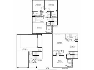D2 - 4 Bed 2 Bath Townhouse Floor Plan