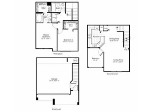 B4 - 2 Bed 2 Bath Townhouse Floor Plan