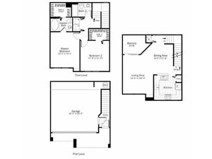 B5 - 2 Bed 2 Bath Townhouse Floor Plan