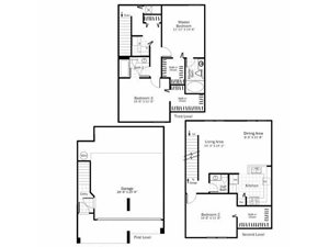 C2 - 3 Bed 2 Bath Townhouse Floor Plan