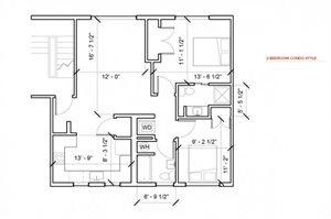 Two Bedroom One Bathroom floor plan