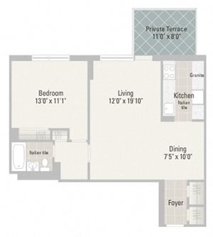 One Bedroom Plans Unit A