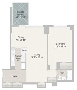 One Bedroom Plans Unit C
