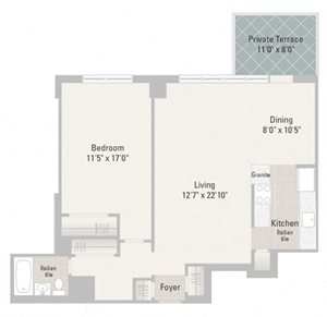 One Bedroom Plans Unit J