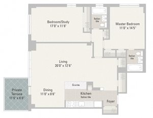 Two Bedroom Plans Unit H