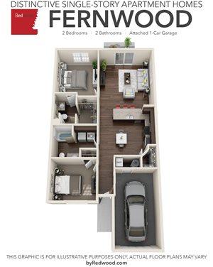 Fernwood - 2 Bed, 2 Bath, 1 Car Garage