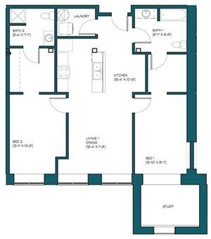 2 Bedroom + Study A.13