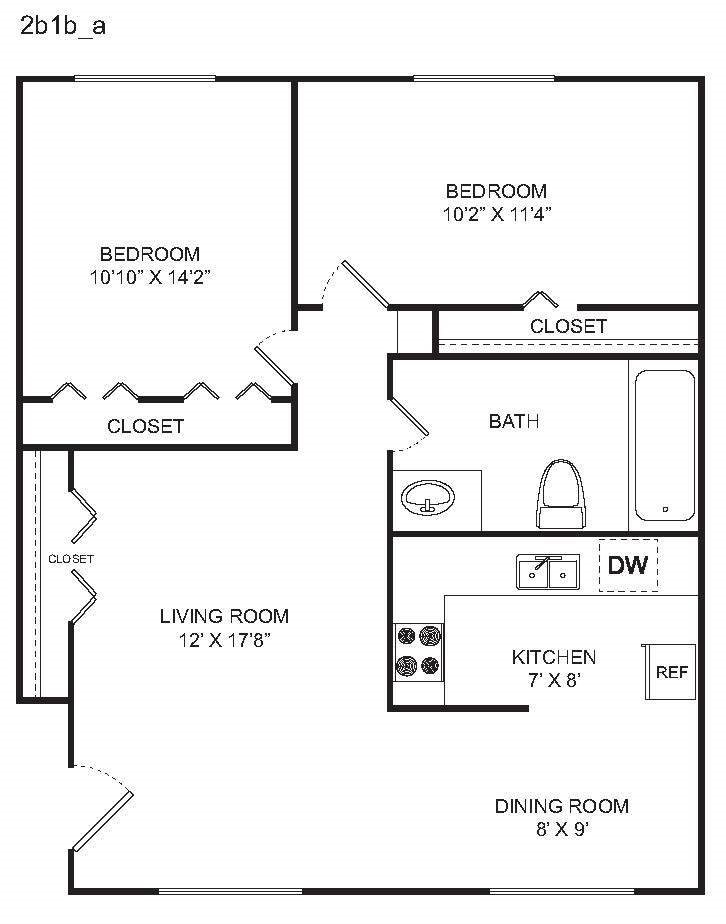 2 BED A Floor Plan 2