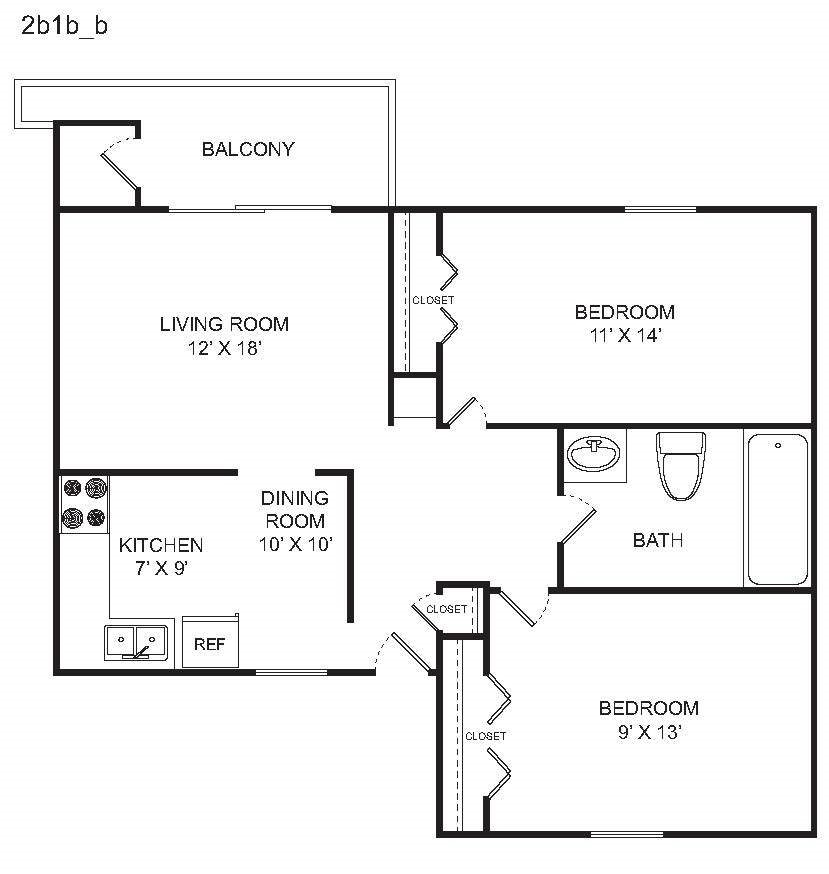 2 BED B Floor Plan 3