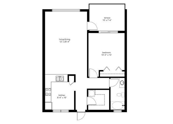 1B1B Floor Plan 2