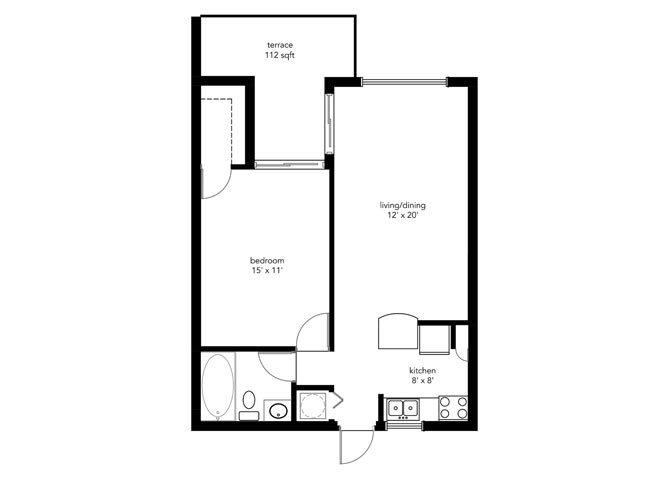 1B1B Floor Plan 1