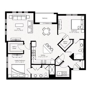 The Cannes floor plan at Crystal Riviyera Apartments