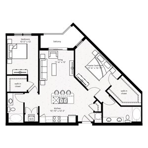 The Monaco floor plan at Crystal Riviyera Apartments