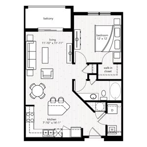 The Monte Carlo floor plan at Crystal Riviyera Apartments