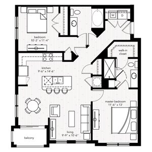 The Saint Raphael floor plan at Crystal Riviyera Apartments
