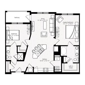 The Saint Tropez floor plan at Crystal Riviyera Apartments