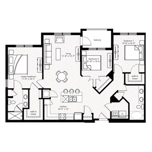 The Sainte Maxime floor plan at Crystal Riviyera Apartments