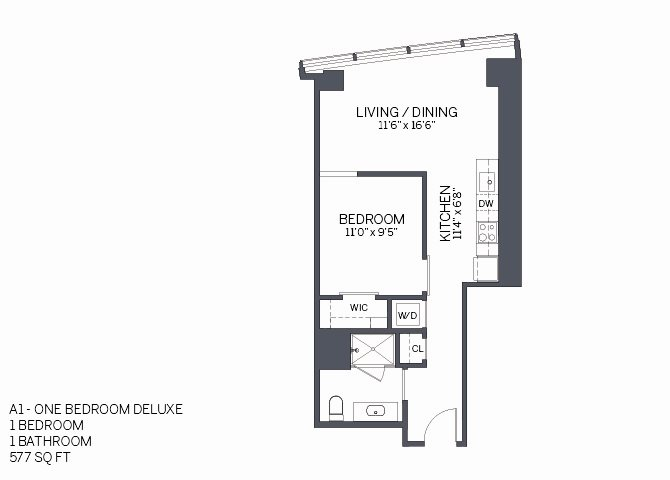 One Bedroom Deluxe with furniture Floor Plan 5