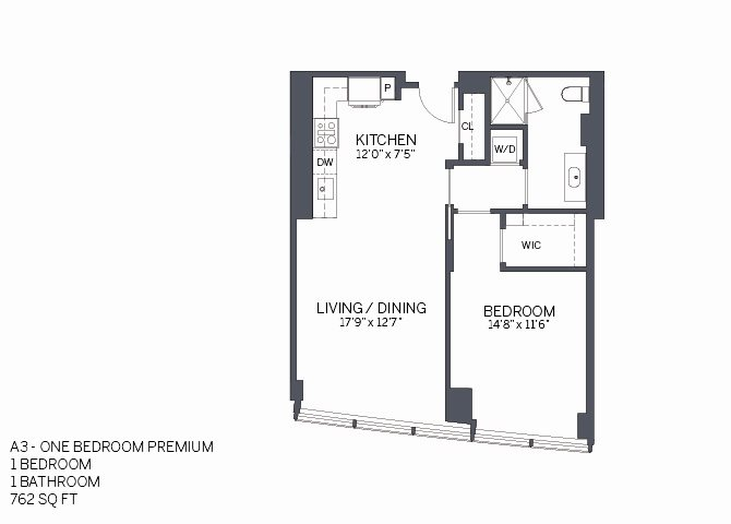 One Bedroom Premium with furniture Floor Plan 8