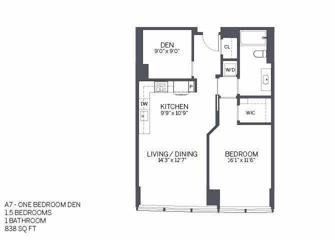 One Bedroom Den with furniture Floor Plan 11