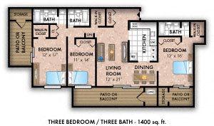Three Bedroom Three Bath