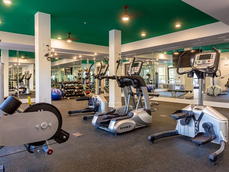 Fully Equipped Fitness Center at Creekside at Greenlawn Apartments