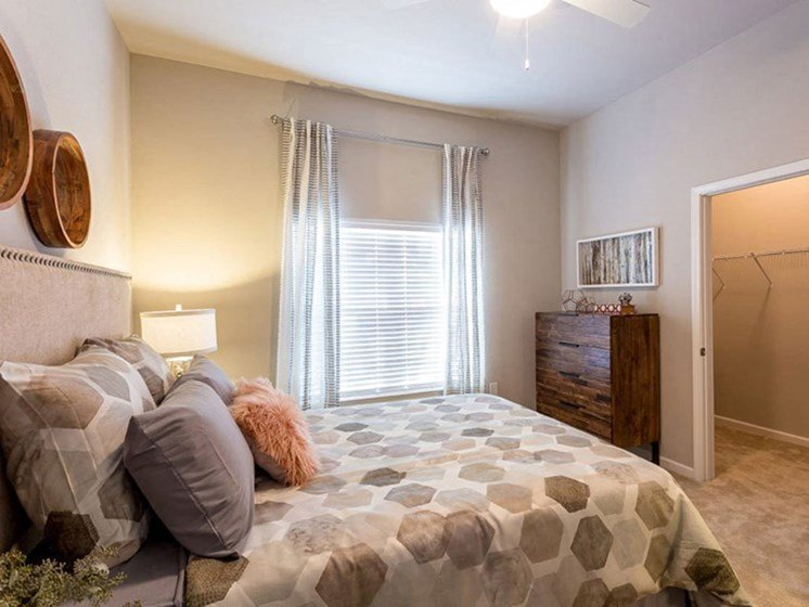 Master Bedroom With Window, Walk-in Closet, and Carpeting at Creekside at Greenlawn Apartments in Columbia, SC