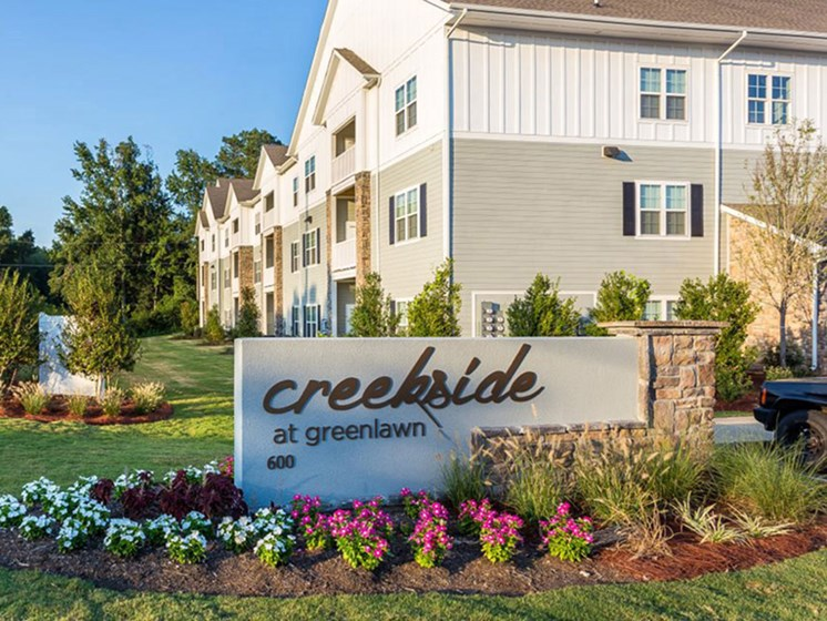 Front Lawn With Creekside at Greenlawn Sign