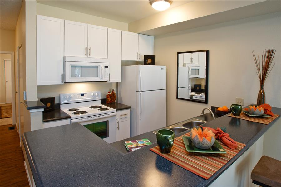 Fully equipped kitchen at Brookside Apartments, Boulder, CO,80305