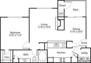 Arrowhead Floorplan at Greenwood Plaza Apartments