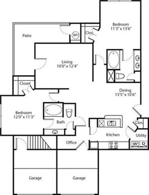 Aspen Floorplan at Greenwood Plaza Apartments