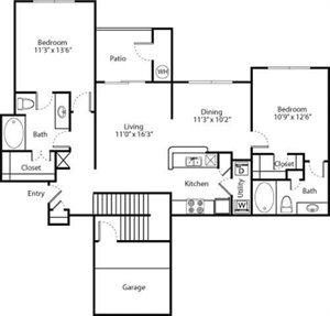 Azalea Floorplan at Greenwood Plaza Apartments