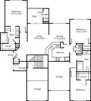 Magnolia Floorplan at Greenwood Plaza Apartments