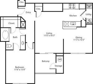 Monarch Floorplan at Greenwood Plaza Apartments