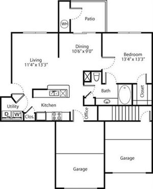 Red Bud Floorplan at Greenwood Plaza Apartments