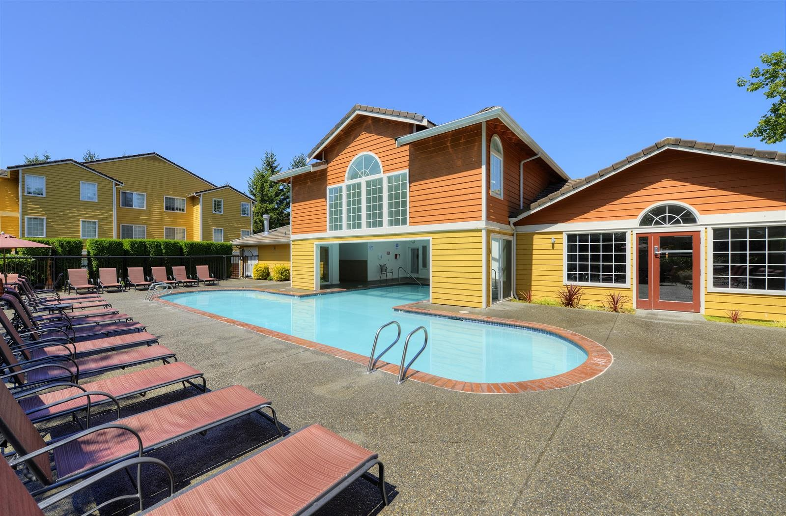 Relaxing Pool side area at Heronfield Apartments, Kirkland, WA, 98034