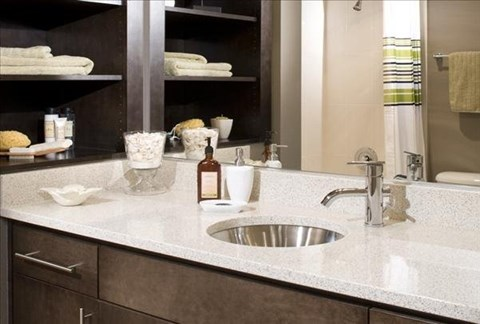 solid cultured marble bathroom counter tops at The Martine Apartments, 13850 NE 8th Street, Bellevue
